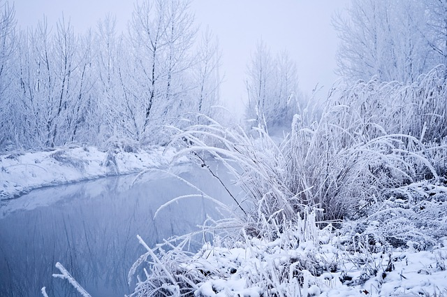 snow on river