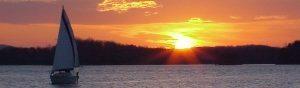 Sunset over smith mountain lake